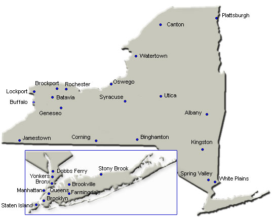 New York State Map with SBDC center locations